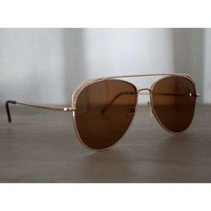 Accessories - Women's NEW Brown Gold Aviator Sunglasses